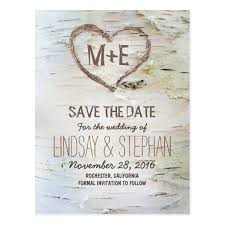 birch bark rustic save the date postcards zazzle