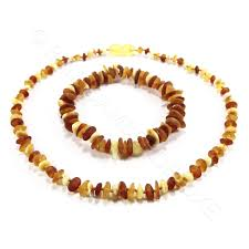 amber beads bracelet images Raw chips mixed colors 2 item set amber teething necklace jpg