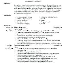 nanny resume template nanny resume template format resumes housekeeper
