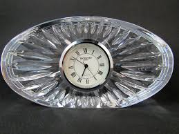 Glass Desk Accessories by Waterford Crystal Desk Clock Oval Shape Quartz Movement Desk