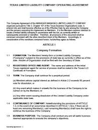 Sample Partnership Proposal Download Texas Llc Operating Agreement Template Llc Partnership