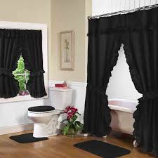 black double swag shower curtain for curtains with matching window treatments interior 11
