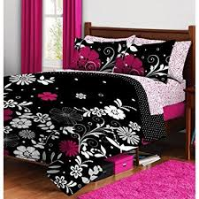 Girls Pink And Black Bedding by Amazon Com Pink Black Teen Girls Flower Floral Twin Xl Comforter