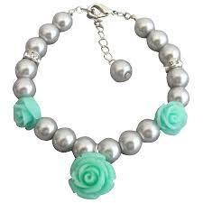flower girl charm bracelet flower charm gray pearl rhinestone flower girl charm bracelet