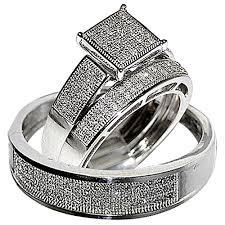 his and hers bridal his wedding rings set trio men women 10k white gold rings