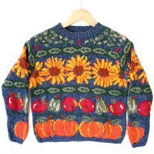 sunflower fall harvest tacky thanksgiving sweater the