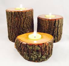 wood log candle holders natural handmade wood manmadewoods
