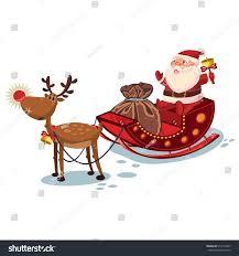 santa claus sleigh reindeer sack gifts stock vector 516114847