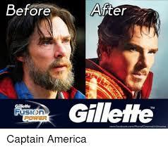 Captain America Meme - before after gillette tm fusion