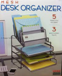 Nailed It Desk Organizer by Seville Classics Mesh Desk Organiser With 3 Trays U0026 5 Tiered File