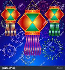 lanterns fireworks indian diwali lanterns fireworks background stock vector 61482292