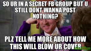 Willy Wonka Tell Me More Meme - so ur in a secret fb group but u still dont wanna post nothing