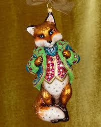 strongwater jubilee fox glass ornament