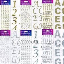 craft glitter stickers letters u0026 numbers alphabet gold silver