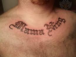 simple lettering tattoo on chest for men tattoomagz