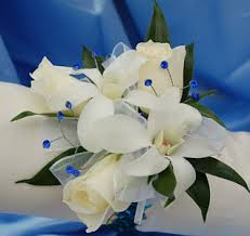 blue orchid corsage white sweetheart and white orchid corsage blue