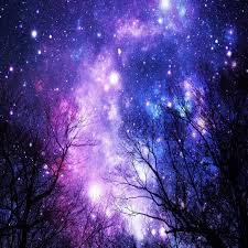 black trees purple blue space duvet cover by vintageby2sweet
