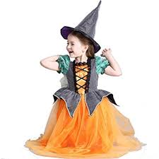 Witch Halloween Costumes Girls Amazon Cute Halloween Pumpkin Witch Dress Costume