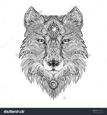 tattoo head wolf wild beast of prey handmade black and white
