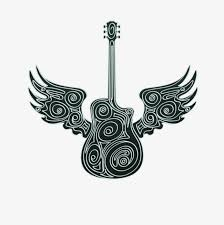 creative guitar with wings vector material creative wings vector