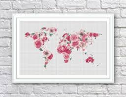 Etsy World Map by Bogo Free Floral World Map Cross Stitch Pattern World Map