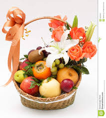 flower fruit fruit basket with flower stock image image 28835841