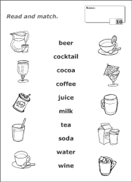 drinks vocabulary for kids learning english printable resources