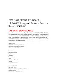 2008 2009 suzuki lt a400 f lt f400f kingquad factory service manual u2026