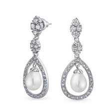 and pearl chandelier earrings bridal pearl pave cz silver teardrop chandelier earrings