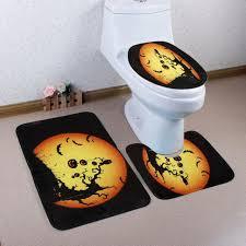 3pcs set halloween theme bathroom set carpet absorbent non slip