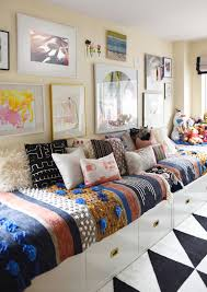 Twin Beds Arranged As A Couch To Make The Room More Family - Couches for kids rooms