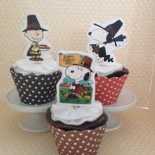 peanuts snoopy brown thanksgiving cupcake topper