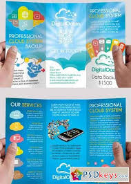 cloud systems premium tri fold psd brochure template free