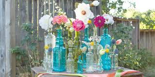 bud vase garland decorative vintage glass bottles jars wedding decor