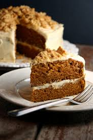 spiced pumpkin cake with molasses cream cheese frosting u0026 ginger