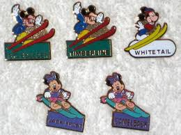 minnie mouse monogram mickey minnie mouse metal ski pins lot of 5 skiing monogram
