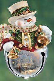 thomas kinkade snow bell holidays snowman ornaments set of three