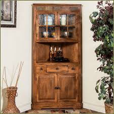 decorating rustic wood corner hutch with single drawer for home