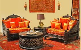 Traditional Indian Living Room Carved Sofas Rich Cushions - Indian furniture designs for living room