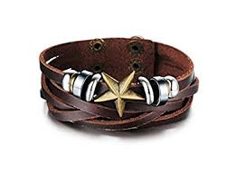leather star bracelet images Asma star shape retro style men 39 s multilayer leather bracelet for jpg