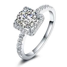 Square Wedding Rings by Women U0027s Engagement Rings Wedding Square Cubic Zirconia 925
