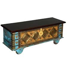 Rolling Coffee Table Mango Wood Rolling Coffee Table Chest