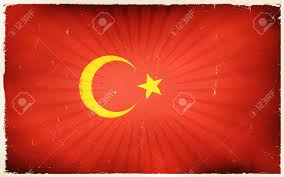 National Flags With Orange Illustration Of An Horizontal Turkey Country Flag Poster With