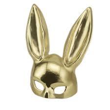 bunny mask gold rabbit masquerade bunny domanatrix costume