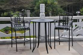 Patio Furniture Bar Height Set - three posts snowberry 3 piece wrought iron bar height bistro patio
