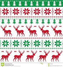 christmas pattern red green nordic seamless pattern with deer and christmas tree stock