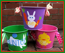 easter buckets personalized easter easter basket by chicmonogram on etsy