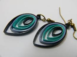 quiling earrings shades of blue leaf paper quilling earrings meylah
