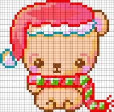 christmas bear perler bead pattern bead sprite general pixel