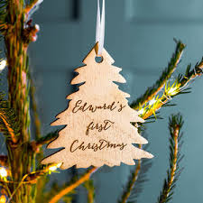 Bespoke Baby S First Christmas Wooden Tag Decoration by Catalogue Festive Touches Notonthehighstreet Com